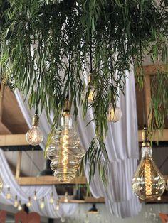 giant bulbs and soft white draping Light Decorations, Decor, Table, Table Decorations, Bulb, Home Decor, Vintage, Drapes, Vintage Bulbs