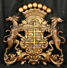 Carved Coat of Arms, English Heraldry. Bought from an architectural salvage firm in Islington, London