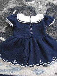 Ravelry: Sailor Dress pattern by Judy Lamb Baby Clothes Patterns, Crochet Baby Clothes, Cute Baby Clothes, Clothing Patterns, Sewing Patterns, Vintage Thrift Stores, Dress Making Patterns, Sailor Dress, Knit Dress