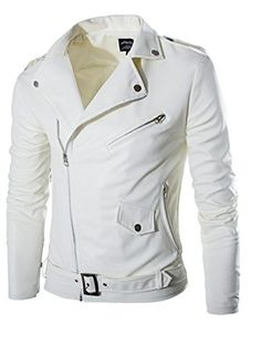 Generic Mens Fashion Front-Zip Pu Leather Slim Fit Moto Rugged Jackets