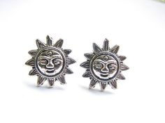 Sun Face Stud Earrings Silver Sun Jewelry by ButtonYourButtons, $12.00