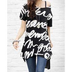 Plus Size Round Collar Letter Print Short Sleeves Long Women's T-Shirt
