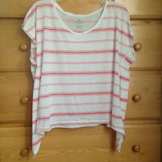 Relaxed & Loose Tee Pink & red stripes add some color to this super adorable top!! In great condition & full of life for any spring occasion(: Last picture is of the back and first picture is of the front!   Trades  PayPal  Bundles (25% off)  Offers  Pet Free & Smoke Free Home American Eagle Outfitters Tops Tees - Short Sleeve