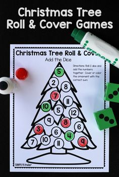 A fun and easy math game- Christmas Tree Roll and Color! A great activity for kindergartners this holiday season!