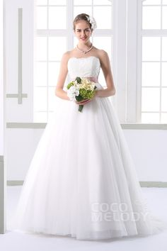 A-line Sweetheart Lace Wedding Dress #cocomelody