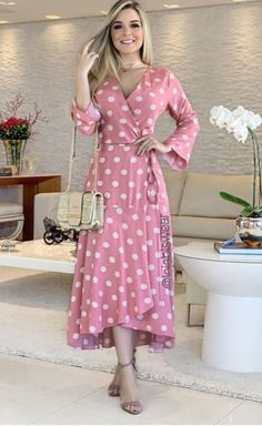 Wrap Dress, Dresses With Sleeves, Long Sleeve, Pink, Outfits, Design, Style, Fashion, Glamour Dresses