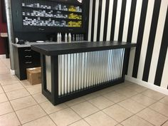 The L Shaped Counter - x foot corrugated metal bar, sales counter, reception desk, unfinished Backyard Bar, Patio Bar, Outside Bars, Home Bar Designs, Style Rustique, Garage Bar, Deco Originale, Corrugated Metal, Metal Bar