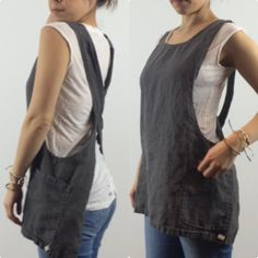 Japanese Apron Pinafore Square Short Misses Country How To Shrink Clothes, Japanese Apron, Leather Apron, Donia, Sewing Aprons, Pinafore Dress, Natural Linen, Cool Things To Make, Diy Clothes