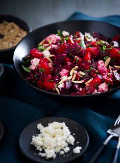 Roasted Chopped Beet Salad with Feta and Lemon Zest Vinaigrette on @whiteonrice