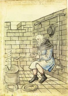 German manuscript dated showing a wire puller sitting in a stone room on a… Medieval Life, Medieval Armor, Medieval Manuscript, Illuminated Manuscript, Medieval Crafts, Renaissance Era, Early Middle Ages, Dark Ages, 14th Century