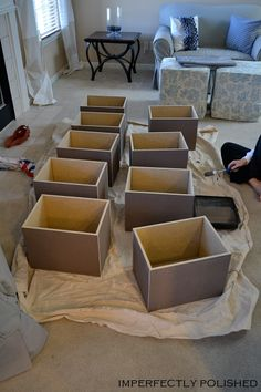 DIY Storage Boxes | Imperfectly Polished...could make from beadboard? boxes would be much lighter...