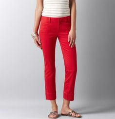 #LOFTSummerGetaway Marisa Stretch Cotton Twill Ankle Zip Pants... nothing better than some red bottoms on the 4th of July