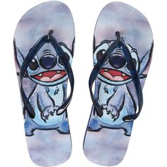 Disney Lilo Stitch Blue Flip Flops Hot Topic ($15) ❤ liked on Polyvore featuring shoes, sandals, flip flops, disney shoes, disney, disney flip flops, blue shoes and blue sandals