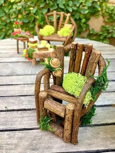 Fairy garden furniture set fairy bench and chair miniature #miniaturefairygardens #miniaturegardens #fairyfurniture