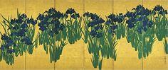 Irises -- 6-panel screen by Ogata Korin