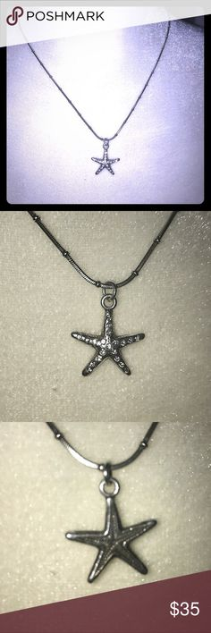 "🎉NWOT Brighton Starfish Crystal Necklace NWOT Brighton Starfish Crystal Necklace. Brighton products all have a sterling overlay & last forever!  This charming piece features crystals imbedded in starfish and an adjustable 18 1/4"" chain with lobster claw clasp & the signature Brighton heart. Can also be reversed to wear the plain starfish.  Great Holiday gift!  It is delivered in a jewelry box. Enjoy! Brighton Jewelry"