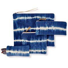 Shibori Indigo stripe big linen pouch finished by GrayGreenGoods
