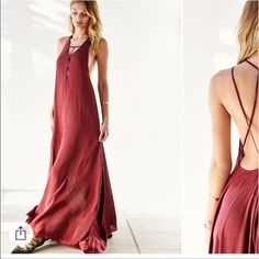 Ecote Lacey cutout maxi Super cute maxi dress burgundy Urban Outfitters Dresses Maxi
