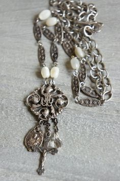 Sweet Notre Dame-Vintage assemblage necklace by frenchfeatherdesigns