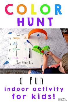 An indoor scavenger hunt you don't want to miss! Kids find colors around the house as the begin to explore and recognize color words.
