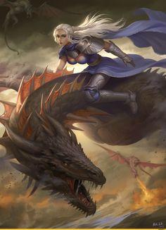 Game of Thrones - Daenerys Targaryen by Han Bing Game Of Thrones Artwork, Game Of Thrones Series, Game Of Thrones Dragons, Got Dragons, Game Of Thrones Tv, Mother Of Dragons, Fantasy Comics, Fantasy Art, Fantasy Creatures
