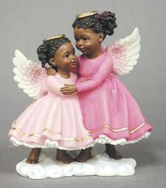 Shop for sister angel figurines. These angel and cherub collections are very thoughtful inexpensive gifts to give to someone special. Great gift idea for sisters. African American Figurines, African American Art, American History, Black Figurines, Doll Tattoo, Sisters Forever, Black Angels, Black Christmas, Modern Christmas