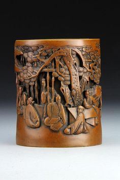 Buy online, view images and see past prices for A Chinese Molded Brush Pot. Invaluable is the world's largest marketplace for art, antiques, and collectibles. Chinese Painting, Chinese Art, Wood Sculpture, Sculptures, Oriental Decor, Bamboo Art, Japanese Calligraphy, Wood Creations, Pots