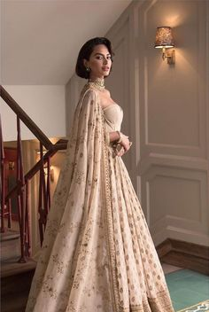 Diipa Khosla in an ivory beige Sabyasachi wedding lehenga. Call/WhatsApp for Purchase Inqury : Indian Bridal Outfits, Indian Designer Outfits, Indian Dresses, Sabyasachi Wedding Lehenga, Anarkali, Indian Attire, Indian Ethnic Wear, Desi Wedding Dresses, Bridal Dresses