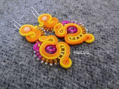 Kolczyki sutasz 265 kolorowe boho / Dangle soutache earrings with crystals
