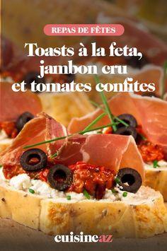 Nous vous proposons une recette de toasts à la feta, jambon cru et tomates confites pour vos prochains apéritifs. #recette#cuisine#aperitif#apero#toast #feta #jambon #tomate