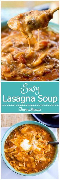 Easy Lasagna Soup Recipe via /flavormosaic/ - food Italian ideas dinner (hamburger recipes easy pasta) Italian Recipes, New Recipes, Soup Recipes, Dinner Recipes, Favorite Recipes, Dinner Ideas, Lasagna Recipes, Delicious Recipes, Salads