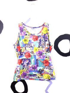 90s Photorealistic Tropical Collage Tank Top / by badatpettingcats, $22.00