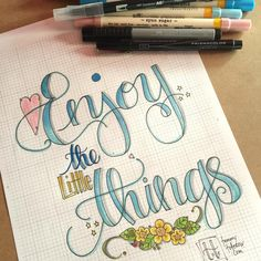 Fun discovery this morning- I am coloring on my sketch paper that is too thin… Hand Lettering Art, Doodle Lettering, Creative Lettering, Brush Lettering, Lettering Design, Doodle Quotes, Distress Markers, Handwritten Quotes, Sketch Paper