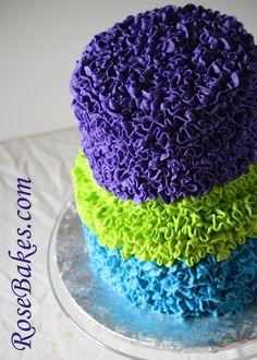 Messy Buttercream Ruffles Birthday Cake {Bright Bold Peacock Colors}