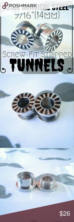 """316L Surgical Grade S.Steel Tunnels 9/16""""  14mm ?There is a Tiny Crack on one of the Tunnels. It's not noticeable unless pointed out. But I'd rather be honest and let you know before you purchase. See last photo for more info? SPECIFICATIONS: ?316L Surgical Grade Stainless Steel  ??Black Stripes Rimmed with clear top ?Screw Fit ?Size 9/16"""" 14mm ?They will be sanitized before Shipping out.  ?No Lowballing please! Open to a reasonable offer only. TAGS: Gauges, Tapers, Plugs, Spirals, Tunnels…"""