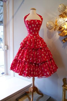 50s Valentines Dress // 50s Party Dress // Vintage 1950s Lipstick Pink Novelty Print Cotton Halter Dress by Alex Colman Size S. $248.00, via Etsy.