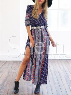 Navy Half Sleeve Vintage Print Split Maxi Dress 15.99