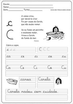 3 - Caderno de Caligrafia letra C Digital Scrapbook Paper, Bullet Journal, Math Equations, How To Plan, Nice, Board, Pretty, Blog, Sight Word Activities