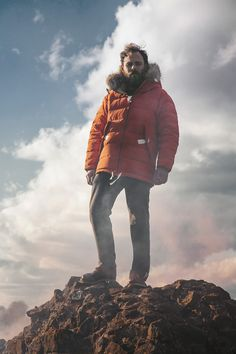 Dyersville orange down insulated glacier jacket and Millwood Tweed black classic chino featured in The Buttery Store's Holiday 2012 Lookbook, via The Daily Street.
