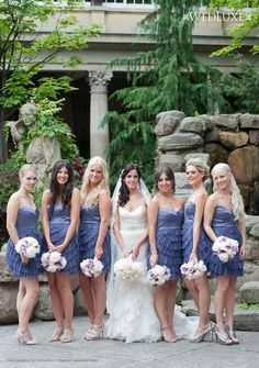 Bridesmaids in blue @Shannon Bellanca Marie what do you think of this color and the short? I dont like the flappy stuff on the dress