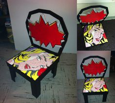 """My """"pop art themed chair"""" that I had to make for my final project in Design II :)"""