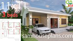 Simple House Design Plans with 3 Bedrooms Full Plans - House Plans 2 Bedroom House Plans, Bungalow House Plans, Shop House Plans, New House Plans, Modern House Plans, House Floor Plans, Simple House Plans, Simple House Design, House Plans With Pictures