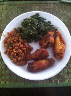 Broiled chicken, beans and greens