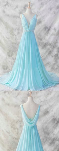 Beaded/Beading Prom Dresses, Light Blue A-line/Princess Prom Dresses, Long Light Blue Prom Dresses, Ice Blue Simple Deep V-neck Beaded Open Back Prom Dresses Navy Blue Prom Dresses, Princess Prom Dresses, Open Back Prom Dresses, Simple Prom Dress, Prom Dresses 2016, V Neck Prom Dresses, Light Blue Dresses, Cheap Prom Dresses, Pretty Dresses