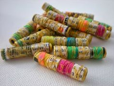 I was inspired by something I saw on facebook the other day (as so often happens) - paper beads.  I remember those!  What a great way to rec...