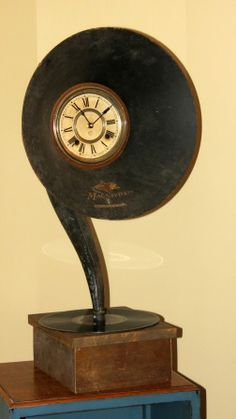 Clock made from RCA gramaphone horn #vintage, #repurposed