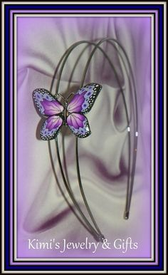Headband Polymer Clay Purple Butterfly by kidalski on Etsy, $18.11