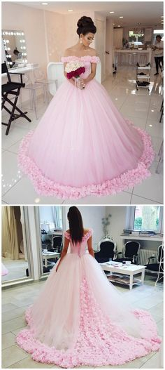 Custom Made Beautiful Flower Wedding Dresses, Pink Ball Gown Wedding Dresses, Long Pink Wedding Dresses, Ball Gown Off shoulder Pink Tulle Flowers Wedding Dresses,Pink Quinceanera Dresses Sparkly Prom Dresses, Wedding Dresses With Flowers, Pretty Dresses, Tulle Flowers, Pink Dresses, Prom Gowns, Beautiful Dresses, Bridesmaid Dresses, Off Shoulder Wedding Dress