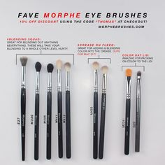 "All my favorite @morphebrushes eye brushes! I use these literally every single day I do my makeup. I've had most of these for about a year now and they haven't failed me yet. ___ DISCOUNT: 10% OFF using the code ""THOMAS"" at online checkout or at the Morphe Brushes store! ____ BLENDING E27 M330 M505 M441 M513 ____ CREASE: M433 - which is a duo for the MAC 217 brush and costs more than half the price of the MAC one. ___ LID COLOR: M224 G20 ____ So happy I'm finally able to share a discount…"