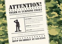 Green Army Man Birthday Invitation & Party by BeesKneesCreative, $34.00 Man Party, Party Fun, Party Time, Party Ideas, Man Birthday, Birthday Ideas, Birthday Parties, Green Army Men, Army Party